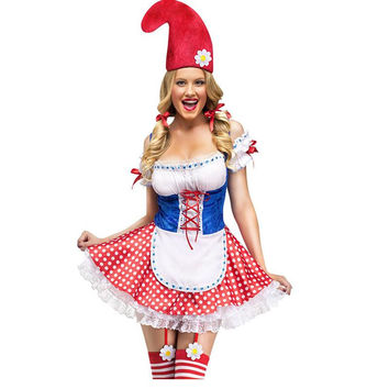 New Arrival  Halloween Costumes For Women Maid Cosplay Dresses Sexy Garden Gnome Costume LC8927 Deguisement Adultes Femme