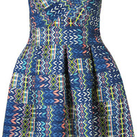 Blue Strapless Backless Geometrical Printed Skater Mini Dress