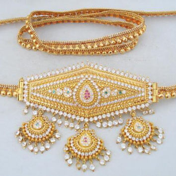 Vintage Antique Solid 22 Ct Gold Belt Belly Chain India