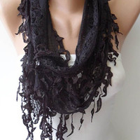 Lace Scarf in Black with Trim Edge