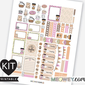 Coffee Weekly Planner Kit Kawaii Stickers Printables Erin Condren Sweet Cute Pink Donut Cappuccino Latte Green Digital Download Package Kits