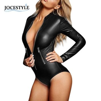 PU Leather Bodysuit Women Jumpsuit Faux Leather PVC Wet Look Bodysuit Catsuit Leotard Tops Playsuit Sexy Overalls for Women