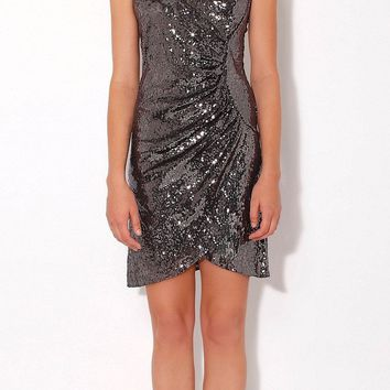 Wrapped Pewter Cami Sequin Dress