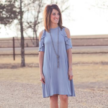 Ruffled Cup Dress with Pockets in Dusty Blue