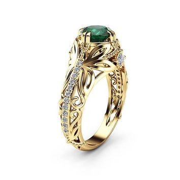 Euramerican Popular Green Zircon Rings Plated Gold Color Butterfly Wedding Band Rings Jewelry  bague  Size 6-10