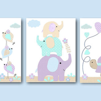 Purple Blue Canvas Nursery Print Elephant Decor Giraffe Wall Art Baby Girl Wall Decor Baby Girl Wall Art Nursery Wall Decor set of 3
