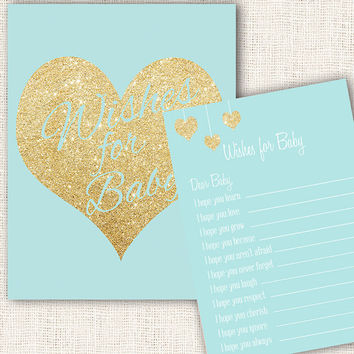 Wishes for baby game blue and gold baby shower with wishes for baby sign printable download diy boy baby shower games