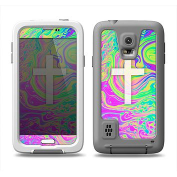 The Vector White Cross v2 over Neon Color Fushion Samsung Galaxy S5 LifeProof Fre Case Skin Set