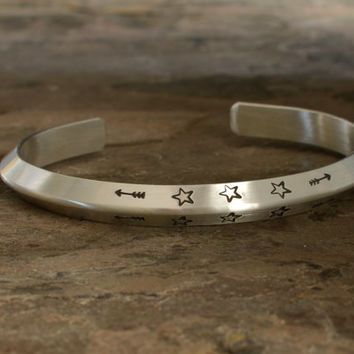 Ultra modern triangular solid sterling silver cuff bracelet with custom hand stamping and engraving