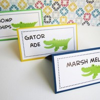Alligator Food Tent Cards or Place Cards Party Label, Personalized