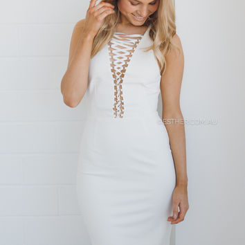 blessed are the meek mantaray dress - ivory