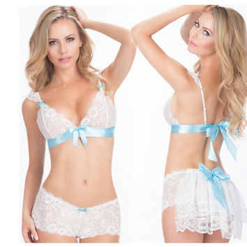 Hot Deal Cute On Sale Sexy White Lace Bikini Exotic Lingerie [11407008783]