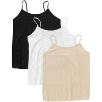Faded Glory Women's Plus-Size Essential Cami, 3 Pack Value Bundle - Walmart.com