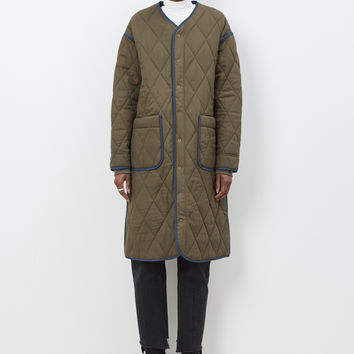 Totokaelo - Stand Alone Khaki Quilted Coat - $630.00