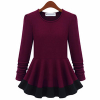 Long Sleeve High-Waisted Skater Mini Dress
