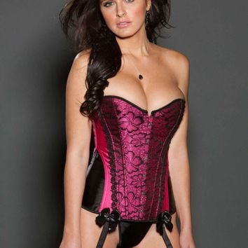 iCollection Lingerie Color Block Satin Corset
