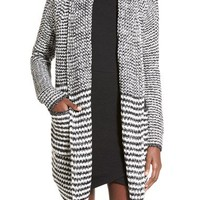 Woven Heart Stripe Long Cardigan | Nordstrom