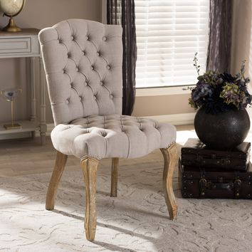 Baxton Studio Clemence French Provincial Inspired Weathered Oak Beige Linen Upholstered Dining Side Chair Set of 1