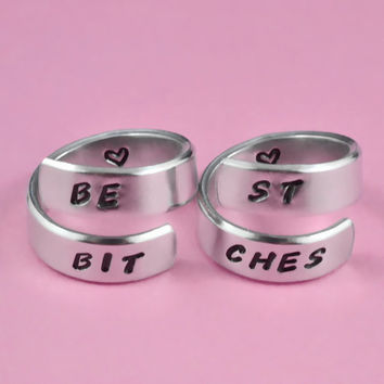 BEST BITCHES - Split Words and Match Rings Set, Personalized Hand Stamped Aluminum Rings, Best Sisters Gift, BFF Gift