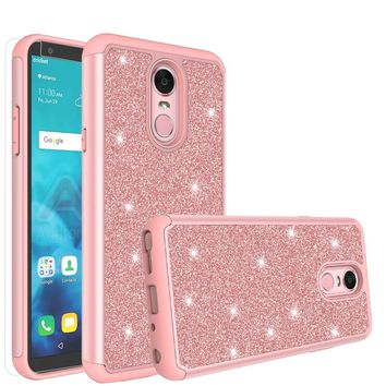 LG Stylo 4 Case, Stylo 4 Glitter Bling Heavy Duty Shock Proof Hybrid Case with [HD Screen Protector] Dual Layer Protective Phone Case Cover for LG Stylo 4 - Rose Gold