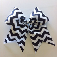 Black and white CHEVRON CHEER BOW by Girlythings29 on Etsy