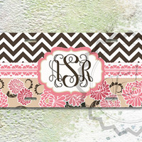 Customized License Plate - Brown chevron and Salmon Pink Floral motives, personalized car tag, front license plate, unique car tag gift