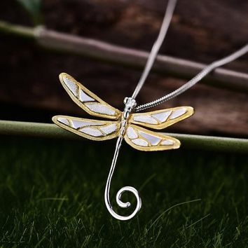 Lotus Fun Real 925 Sterling Silver Natural Style Handmade Fine Jewelry Cute Dragonfly Pendant without Necklace for Women