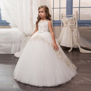 Elegant Tulle Lace Appliques Ball Gown Flower Girls Dresses For Weddings Little Girls Pageant Gown First Communion Dress