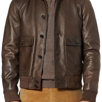 Handmade Men brown leather jacket with front button, men biker leather jacket