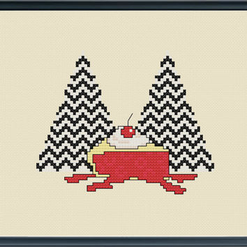 Twin Peaks modern cross stitch pattern instant pdf cherry pie