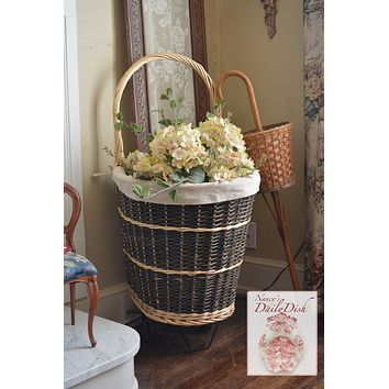 Handwoven Rattan / Wicker Rolling Wheels French Market Basket / Shopping Cart w/ Liner