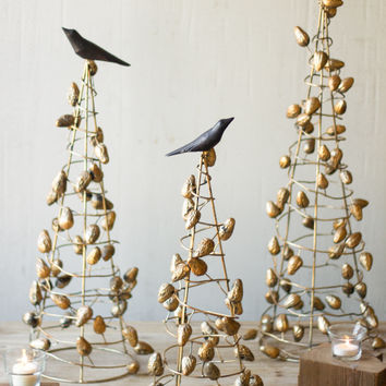 Set of 3 Wire Topiaries with Gold Clay Pinecones & Wood Bird