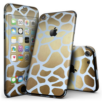 Gold Flaked Animal Light Blue - 4-Piece Skin Kit for the iPhone 7 or 7 Plus