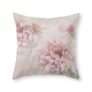 Society6 Softly Roses Throw Pillow