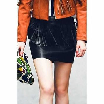 Chic Mid-Waisted Fringed Packet Buttocks Women's Faux Leather Skirt - Black L