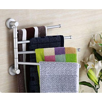 Bathroom Aluminum Firm Towel Rack Holder Rail Hanger with 4 Swivel Bars