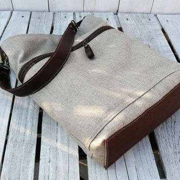 Linen totes - Messenger bag - Leather bag - tote bag - Everyday bag - beige brown shoulderbag - leather purse