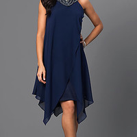 Navy-Blue Sleeveless Handkerchief Dress