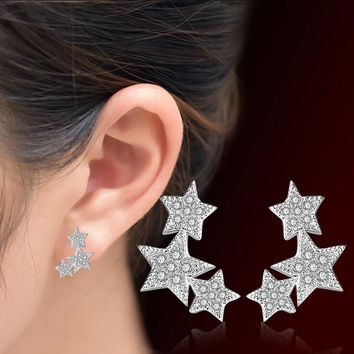 New Arrival Fashion Three Star Design Personalized Female Stud Earrings Christmas Gift Party Accessories