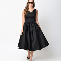 1950s Style Black Cotton Sateen Scallop Brenda Swing Dress