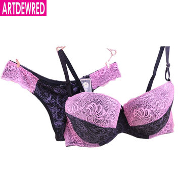DE cup large size embroidery push up bra set for women Brand Seamless Underwear lace 34-40size sexy bra and panty set