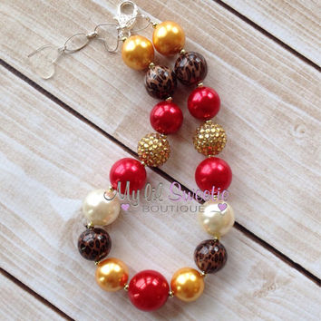 Red gold leopard chunky necklace, girls jewelry, wedding jewelry, children's necklace, bubblegum jewelry, bubblegum necklace