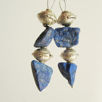 Lapis Lazuli Earrings, Dangle Beaded Blue Natural Gemstone Geode Organic Jewelry