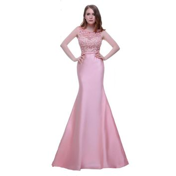 Elegant Mermaid Long Evening Dresses with Scoop Neck Sleeveless Flowers Pink Prom Dresses Formal Gowns