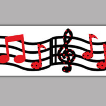 MUSIC WALLPAPER BORDER Wall Art Decals Red Black Musical Notes Modern Home Room Teen Kids Sticker Housewares Decor