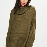 Missguided - Khaki Oversized Slouchy Knitted Jumper