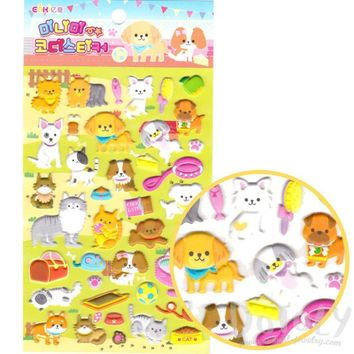Adorable Kitty Cat and Dog Themed Puffy Stickers