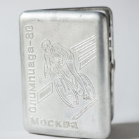 Rare cigarette case cyclist 1980 Summer Olympics Moscow cigarette holder silver shade clean inside