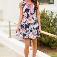 Can't Give You Up Sleeveless Dress, Navy