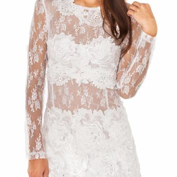 Cooper Lace Long Sleeve Mini Dress